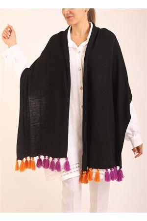 Stola caprese in lana con pon pon viola e arancioni Art Tricot | 61 | STOLAPONPONARANCIOVIOLA