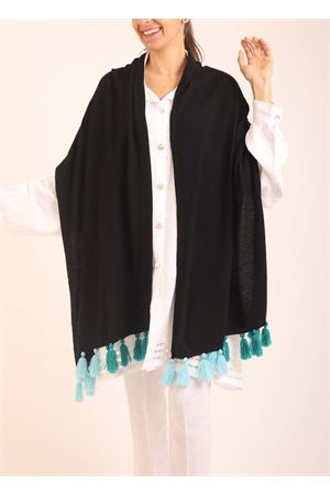 Black wool stole with pon pon  Art Tricot | 61 | STOLAPONPONBLUTURCHESE