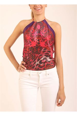 Fuchsia leopard pattern top with open back  Art Tricot | 40 | TOPNODO1FUXIALEOPARD