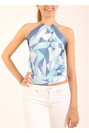 Top with open back and geometric fantasy  Art Tricot | 40 | TOPNODO3AZZURROROMBI