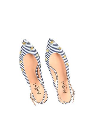 Pointed flats with blue and white stripes and lemon embroidery Ballerì Capri | 5032261 | ANITABLU