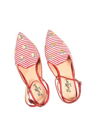 Pointed flats in White and red stripes with embroidered lemons Ballerì Capri | 5032261 | AUDRYROSSO