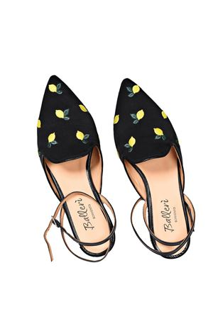 Pointed ballerina in black satin with lemons embroidery Ballerì Capri | 5032261 | SORRENTONERO