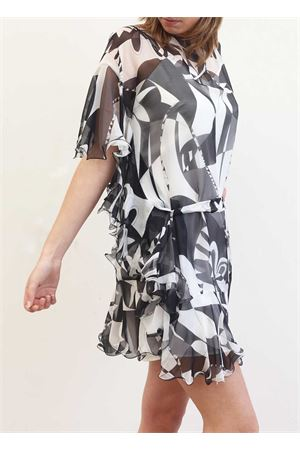 Shor black silk dress with ruffles Capri Chic | 5032262 | CASACCAVOLANTNERO