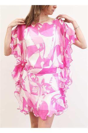 Fuchsia silk mini dress with flounces Capri Chic | 5032262 | CASACCAVOLANTROSA