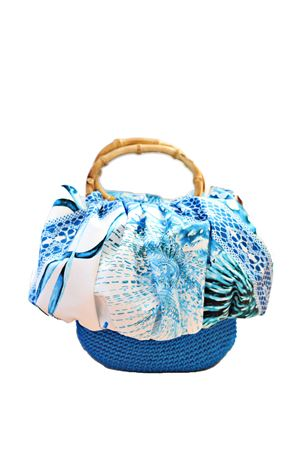 Blue silk and crochet bag with bamboo handle Capri Chic | 31 | CHICBAGAZZURRO