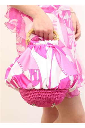 Silk bag with bamboo handle Capri Chic | 31 | CHICBAGFUCSIA