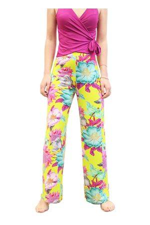 Wide leg stretch yellow floral patterned trousers Capri Chic | 9 | PANTAFIORIGIALLO