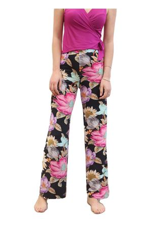 Wide pattern elasticated flower trousers Capri Chic | 9 | PANTAFIORINERO