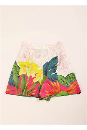 Silk shorts with flowers pattern