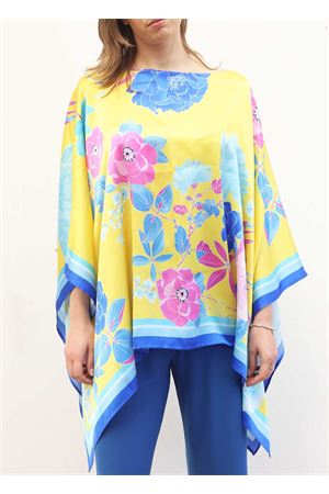 Floral silk tunic with bat sleeve Capri Chic | 5032233 | SILKTUNIC2GIALLO