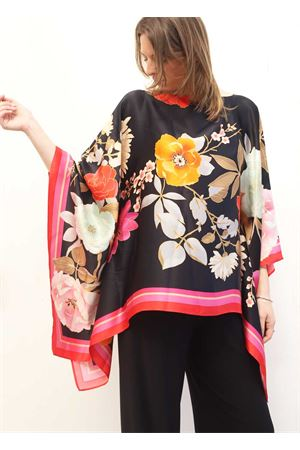 Wide tunic in black flowered silk Capri Chic | 5032233 | SILKTUNIC2NERO
