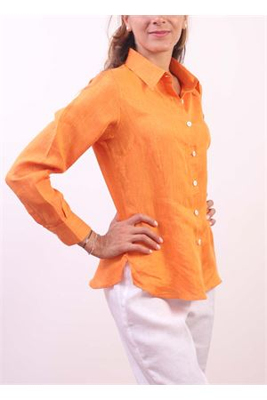 Orange linen shirt for woman  Colori Di Capri | 6 | CLASSICARANCIO