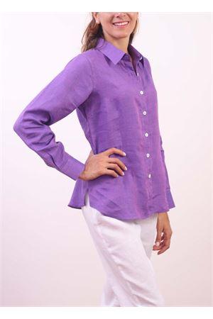 Camicia in lino viola da donna Colori Di Capri | 6 | CLASSICVIOLAMELANGE
