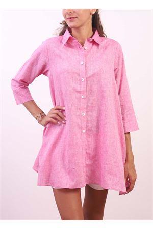 Pink wide linen shirt  Colori Di Capri | 6 | COMFORTFUXIA