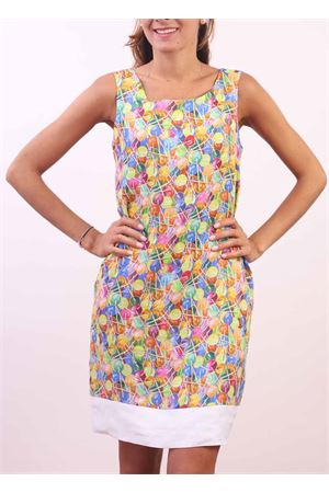 Multicolored linen sheath dress with lollipop print Colori Di Capri | 5032262 | PIGNALOLLYPOPS