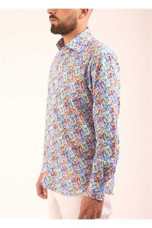 Camicia in cotone con fantasia foglie multicolore Colori Di Capri | 6 | SLIMFITFOGLIE