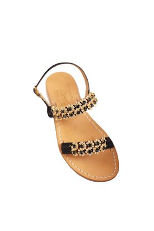 Blue suede jeweled sandals with bands  Cuccurullo | 5032256 | CUCJEWELFASCEBLU