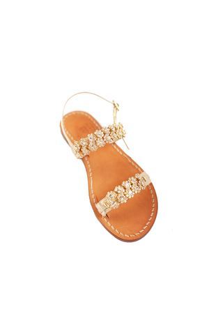 Golden flat sandals with jewel  Cuccurullo | 5032256 | CUCJEWELFASCEORO