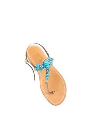 Flat sandals with blue pearls  Cuccurullo | 5032256 | CUCPEARLSAZZURRO