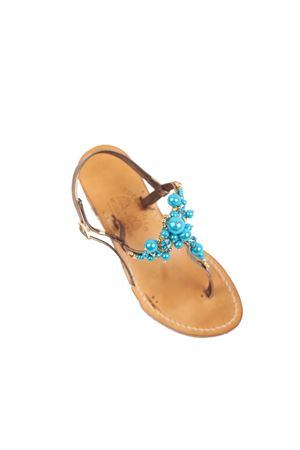 Blue pearls Capri sandals with heel  Cuccurullo | 5032256 | CUCPEARLSHEELAZZURRO