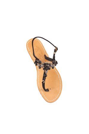 Black pearls Capri sandals Cuccurullo | 5032256 | CUCPEARLSWEDGENERO