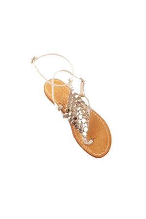 Silver sandals with diamond-shaped metal jewel  Cuccurullo | 5032256 | CUCROMBOMETALARGENTO