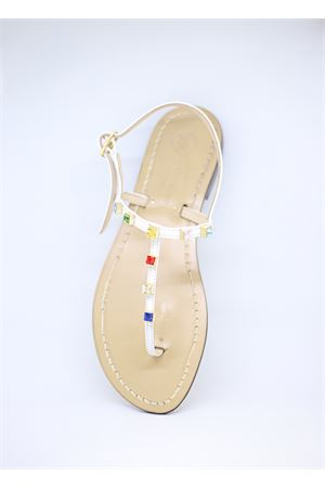 White flip flop Capri sandals with multicolor jewels  Da Costanzo | 5032256 | 1918GIOIELLOBIANCAMULTICOLOR