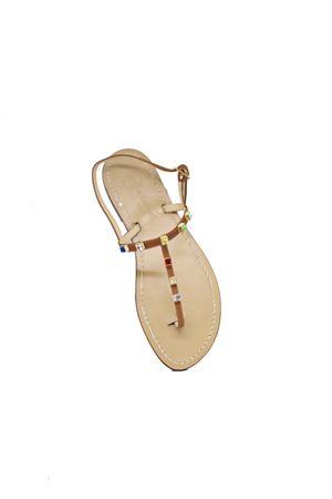Capri sandal with Multicolor Swarovki jewels Da Costanzo | 5032256 | 2059MARRONE