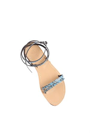 Light blue python print Capri sandals  Da Costanzo | 5032256 | ALTOFASCEAZZURROPITONE
