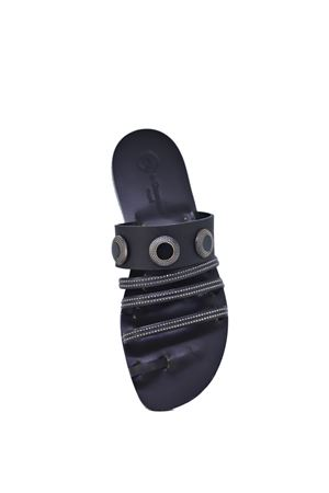 Black unisex sandals with studs and rhinestones Da Costanzo | 5032256 | BORCHIESTRASSBORCHIESTRASS