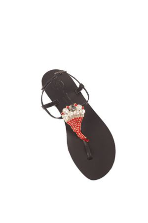 Lucky horn jewel Capri sandals from da Costanzo shop  Da Costanzo | 5032256 | CORNONEROROSSO