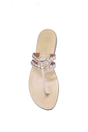 Champagne braided capri sandals  Da Costanzo | 5032256 | DOPPIATRECCIACHAMPAGNE