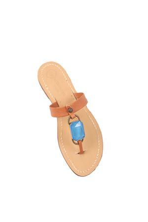 Light blue stone jewel capri sandals Da Costanzo | 5032256 | FASCIABIGSTONEAZZURRO