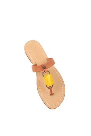 BRown sandals decorated with yellow jewel stone Da Costanzo | 5032256 | FASCIABIGSTONEGIALLO