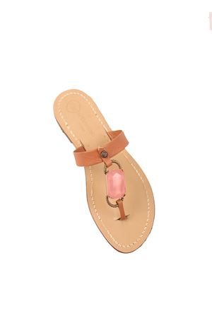 Brown leather sandals with pink jewel stone  Da Costanzo | 5032256 | FASCIABIGSTONEROSA