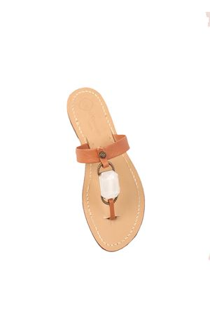 Brown sandals with white jewel stone  Da Costanzo | 5032256 | FASCIABIGSTONEROSAPESCA