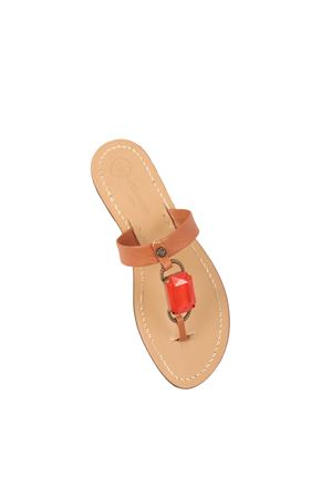 Brown sandals with red stone  Da Costanzo | 5032256 | FASCIABIGSTONEROSSO