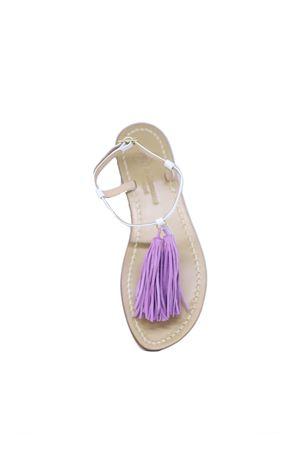 Handmade Capri Sandals with liliac tassels Da Costanzo | 5032256 | NAPPINE2PEBIANCO