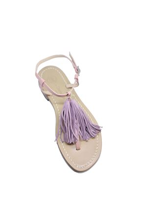 Pink flip flop sandals with tassels  Da Costanzo | 5032256 | NAPPINE2PELLEROSA