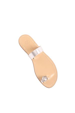 Silver Capri sandals with jewel on the toe Da Costanzo | 5032256 | PUNTOLUCEGRARGENTO