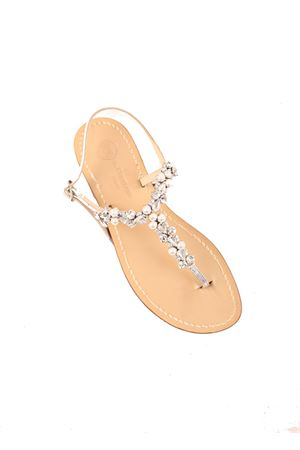 Pearls and crystals bridal flt sandals  Da Costanzo | 5032256 | S3964ARGENTO