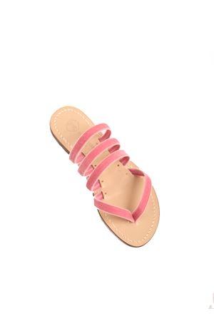 Pink velvet flat sandals  Da Costanzo | 5032256 | V3FASCEROSAVELLUTO
