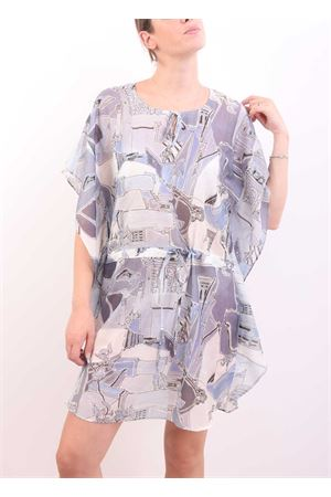 Short cotton kaftan with Piazzetta of Capri print  Eco Capri | 5032233 | CAFTSDPIAZZA