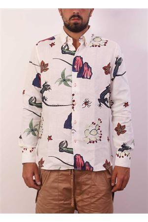 Camicia da uomo in 100% lino con fantasia lucertola di Capri Eco Capri | 6 | CMCMANLIZARD