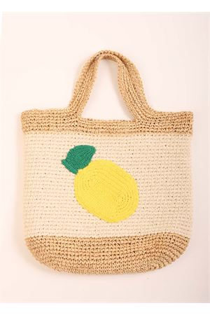 Raffia beach bag with lemon Eco Capri | 31 | CRBAGLEMONWHITE/YELLOW/RAFIA