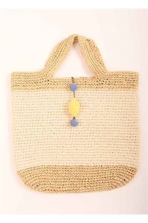 Gold and natural raffia and cotton bag with lemon  Eco Capri | 31 | CRBAGLRXORO RAFFIA
