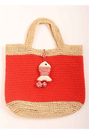 Red raffia and organic cotton bag  Eco Capri | 31 | CRBAGMNDROSSO RAFFIA