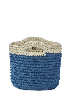Blue basket bag in crochet  Eco Capri | 31 | CRBSKBGJNSDENIM
