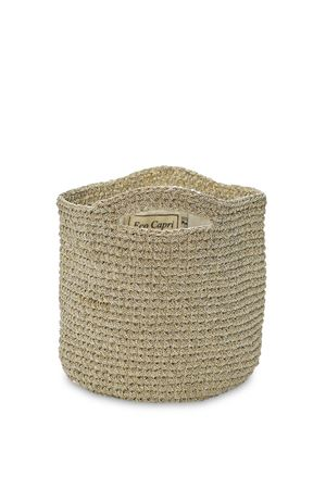 Basket bag in crochet and golden lurex Eco Capri | 31 | CRBSKBGLRXGOLD